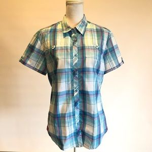 KUHL Womens L Blue Plaid Short Sleeve Shirt